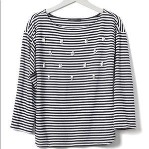 📚Banana Republic Navy Striped Shirt with Beads